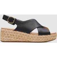 Clarks Women's Kimmei Cross Leather Wedged Sandals - Black - UK 5