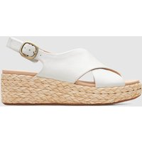 Clarks Women's Kimmei Cross Leather Wedged Sandals - White - UK 3