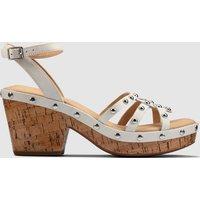 Clarks Women's Maritsa70 Sun Platform Heeled Sandals - White Interest - UK 6