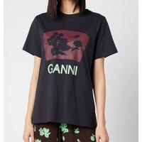 Ganni Women's Floral Cotton Jersey T-Shirt - Phantom - M