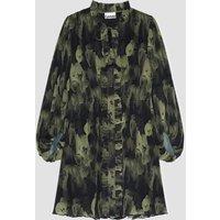Ganni Women's Pleated Georgette Button Up Dress - Olive Drab - EU 40/ UK 12