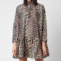 Ganni Women's Printed Cotton Poplin Dress - Leopard - L/XL