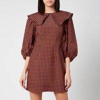 Ganni Women's Seersucker Check Dress - Flame - EU 38/ UK 10