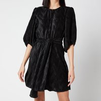 Ganni Women's Pleated Satin Dress - Black - EU 38/ UK 10
