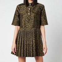 Ganni Women's Crispy Jacquard Dress - Olive Drab - EU 38/ UK 10
