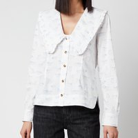 Ganni Women's Printed Cotton Poplin Shirt - Bright White - EU 42/ UK 14