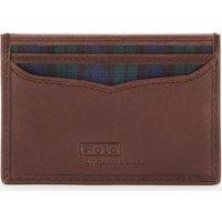 Polo Ralph Lauren Men's Smooth Leather Tartan Card Case - Navy