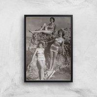 60s Ladies Giclee Art Print - A3 - Black Frame