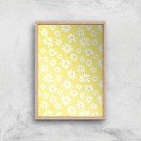 60s Daisy Yellow Giclee Art Print - A2 - Wooden Frame