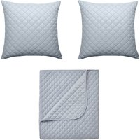 in homeware Diamond Quilted Throw Blanket + 2 Cushions Set - Silver