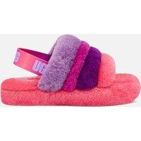 UGG Kids' Fluff Yeah Slide Slippers - Pink / Purple Rainbow - UK 12 Kids