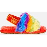 UGG Kids' Fluff Yeah Cali Collage Slide Slippers - Rainbow Stripes - UK 9 Kids