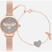 Olivia Burton Womens Lucky Bee Mini You Have My Heart Watch/Bracelet Giftset - Rose Gold