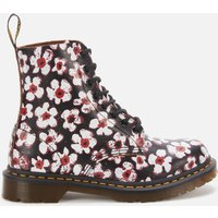 Dr. Martens Women's 1460 Smooth Leather Pascal Boots - Black/Red Pansy - UK 4