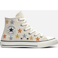 Converse Kids' Chuck Taylor All Star Hi - Top Floral Trainers - Natural Ivory/Egret - UK 10 Kids