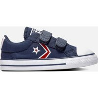 Converse Toddlers' Star Player Embroidered Ox Velcro Trainers - Obsidian/University Red - UK 8 Toddl