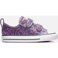 Converse Toddlers' Chuck Taylor All Star Glitter Ox Velcro Trainers - Bold Pink - UK 4 Baby
