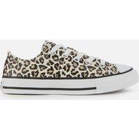 Converse Kids' Chuck Taylor All Star Leopard Print Ox Trainers - Black/Driftwood - UK 11 Kids