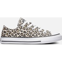 Converse Kids' Chuck Taylor All Star Leopard Print Ox Trainers - Black/Driftwood - UK 2.5 Kids