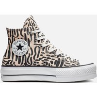 Converse Women's Chuck Taylor All Star Jungle Art Lift Hi-Top Trainers - Crimson Tint/Egret - UK 7