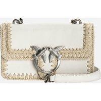 Pinko Womens Love Mini Icon Stitched Shoulder Bag - White