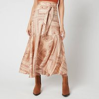 Free People Womens Hampton Wrap Skirt - Latte Combo - M