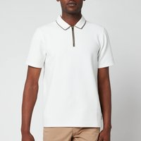 Ted Baker Mens Flamin Zip Neck Textured Polo Shirt - White - 2/S
