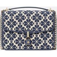 Kate Spade New York Womens Locket Large Jacquard Flap Shoulder Bag - Blue Multi