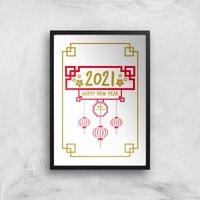 Happy New Year Ox Giclee Art Print - A2 - Black Frame