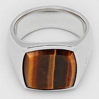 Tom Wood Men's Cushion Tiger Eye Ring - Sterling Silver - 62/20mm