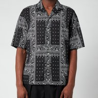 Officine Generale Men's Eren Bandana Print Short Sleeve Shirt - Black - L