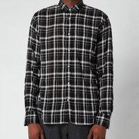Officine Generale Men's Lipp Tencil Check Shirt - Black/Grey/White - XL