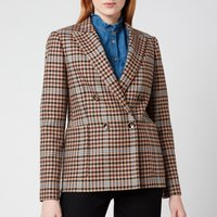 Ted Baker Womens Ramune Check Double Breasted Jacket - Camel - UK 12