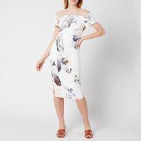 Ted Baker Womens Saidie Vanilla Bodycon Bardot Dress - White - UK 10