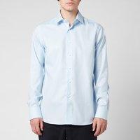 Canali Men's Point Collar Cotton Twill Slim Fit Shirt - Light Blue - IT 41/L