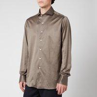Canali Men's Cotton Jersey Cut Away Shirt - Mink - L