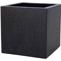 Plaza Cube Planter in Black - 24cm