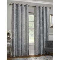 Faux Silk Damask Grey Lined Eyelet Curtains 117cm x 137cm