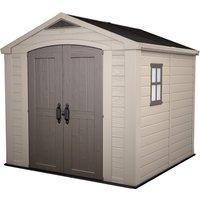 Keter Factor 8x8ft Outdoor Plastic Garden Storage Shed - Beige/Brown