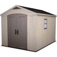 Keter Factor 8x11ft Outdoor Plastic Garden Storage Shed - Beige/Brown