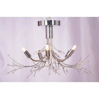 Gin Gin 5 Light Beaded Pendant Light - Chrome and Clear