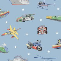 Arthouse Zoom Away Vehicles KIds Smooth Blue Multi Coloured Wallpaper