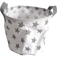 Kids Round Storage Basket - Grey Stars