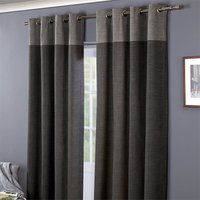 Oslo 100% Cotton Eyelet Curtains 66 x 72 - Charcoal