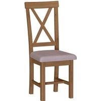 Newlyn Upholstered Cross Back Dining Chair - Set of 2 - Oak