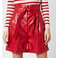 Philosophy di Lorenzo Serafini Women's Faux Leather Shorts with Bow Belt - Red - IT 42/UK 10