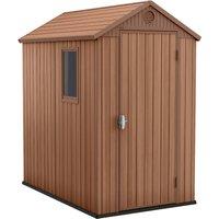 Keter Darwin 6 x 4ft Outdoor Plastic Garden Storage Shed - Brown