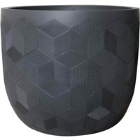 Lightweight Geometric Planter in Dark Grey - 32cm