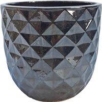 Glazed Geometric Planter Mirror effect - 26cm