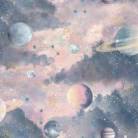 Arthouse Planets Kids Textured Glitter Multi Coloured Wallpaper